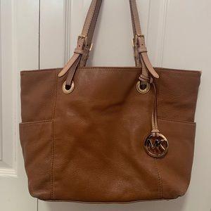 Brown Leather Michael Kors Tote Bag